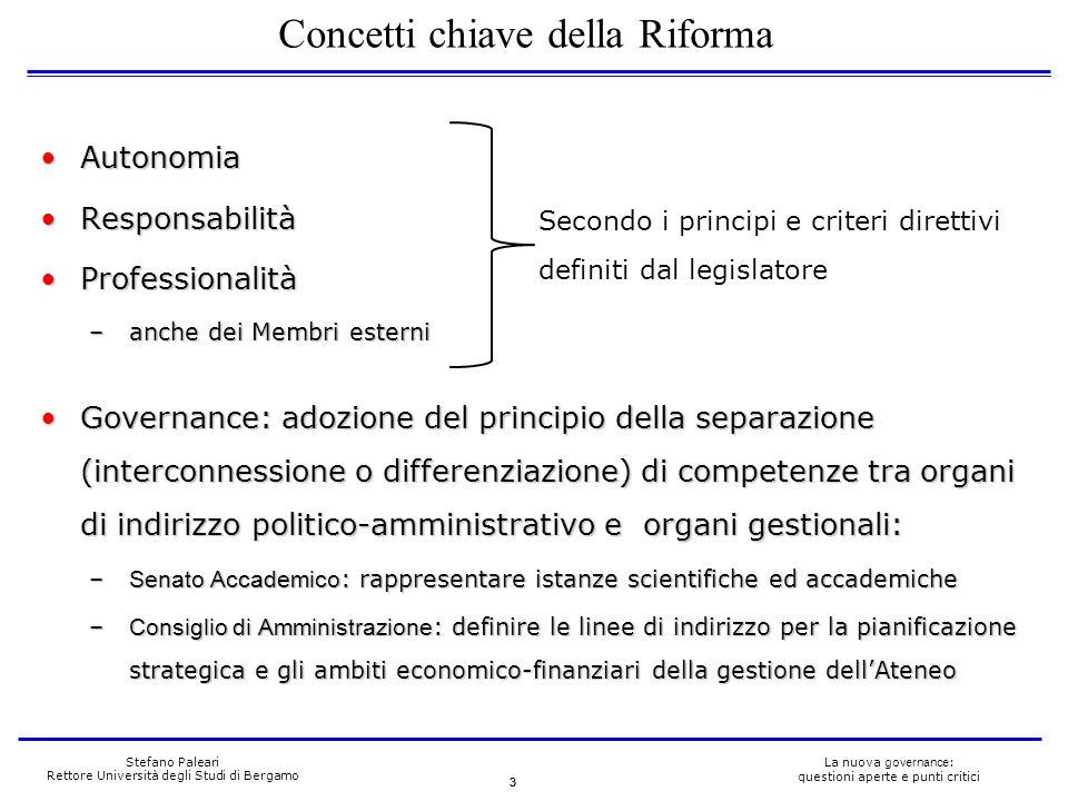 3 La nuova governance : questioni aperte e punti critici Stefano Paleari Rettore Università degli Studi di Bergamo AutonomiaAutonomia ResponsabilitàRe