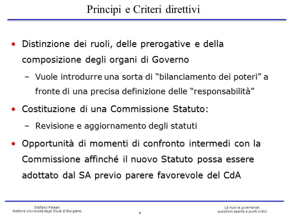 4 La nuova governance : questioni aperte e punti critici Stefano Paleari Rettore Università degli Studi di Bergamo Distinzione dei ruoli, delle prerog