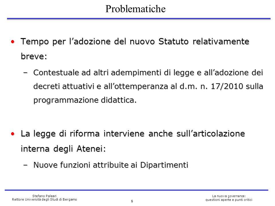 5 La nuova governance : questioni aperte e punti critici Stefano Paleari Rettore Università degli Studi di Bergamo Tempo per ladozione del nuovo Statu