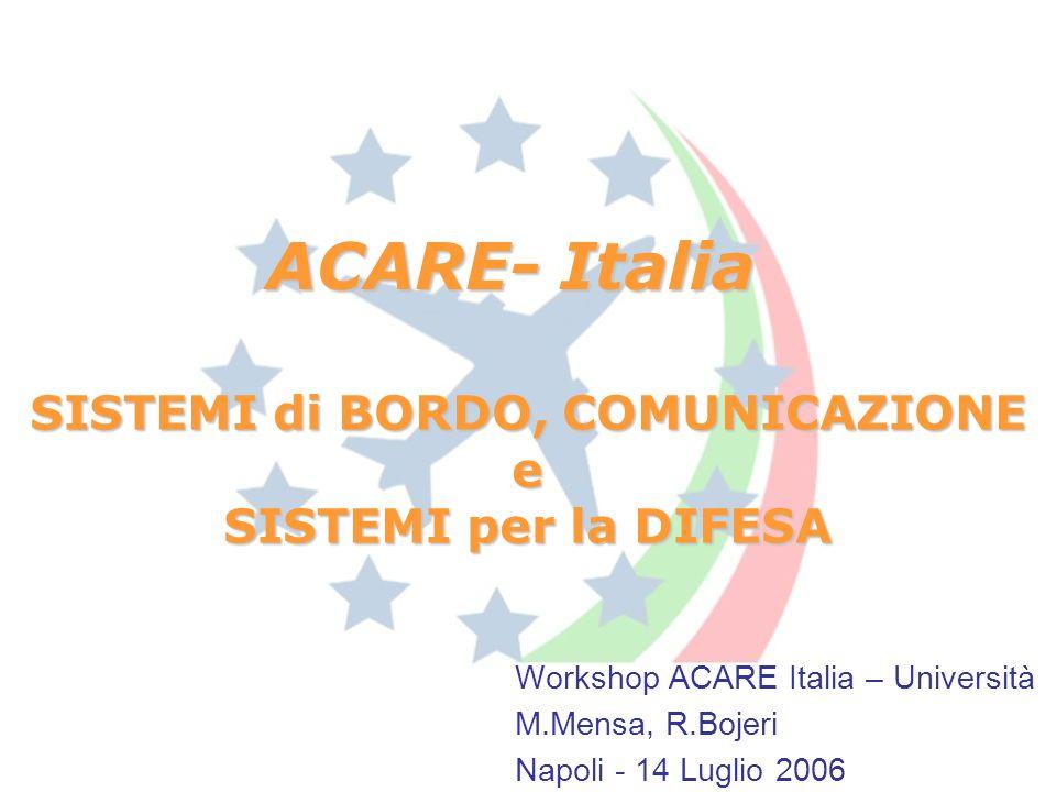 ACARE- Italia Workshop ACARE Italia – Università M.Mensa, R.Bojeri Napoli - 14 Luglio 2006 SISTEMI di BORDO, COMUNICAZIONE e SISTEMI per la DIFESA