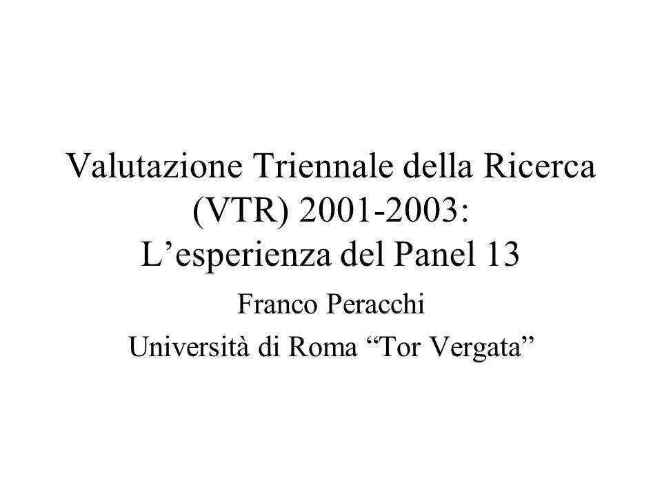 Valutazione Triennale della Ricerca (VTR) 2001-2003: Lesperienza del Panel 13 Franco Peracchi Università di Roma Tor Vergata