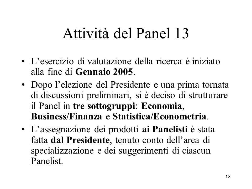 18 Attività del Panel 13 Lesercizio di valutazione della ricerca è iniziato alla fine di Gennaio 2005. Dopo lelezione del Presidente e una prima torna