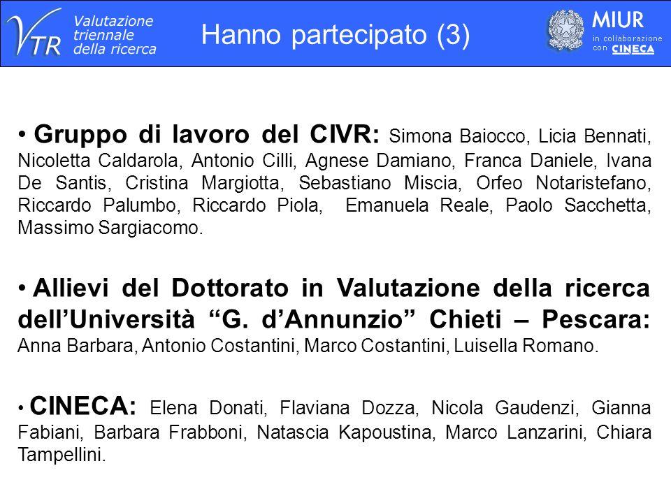 Gruppo di lavoro del CIVR: Simona Baiocco, Licia Bennati, Nicoletta Caldarola, Antonio Cilli, Agnese Damiano, Franca Daniele, Ivana De Santis, Cristin