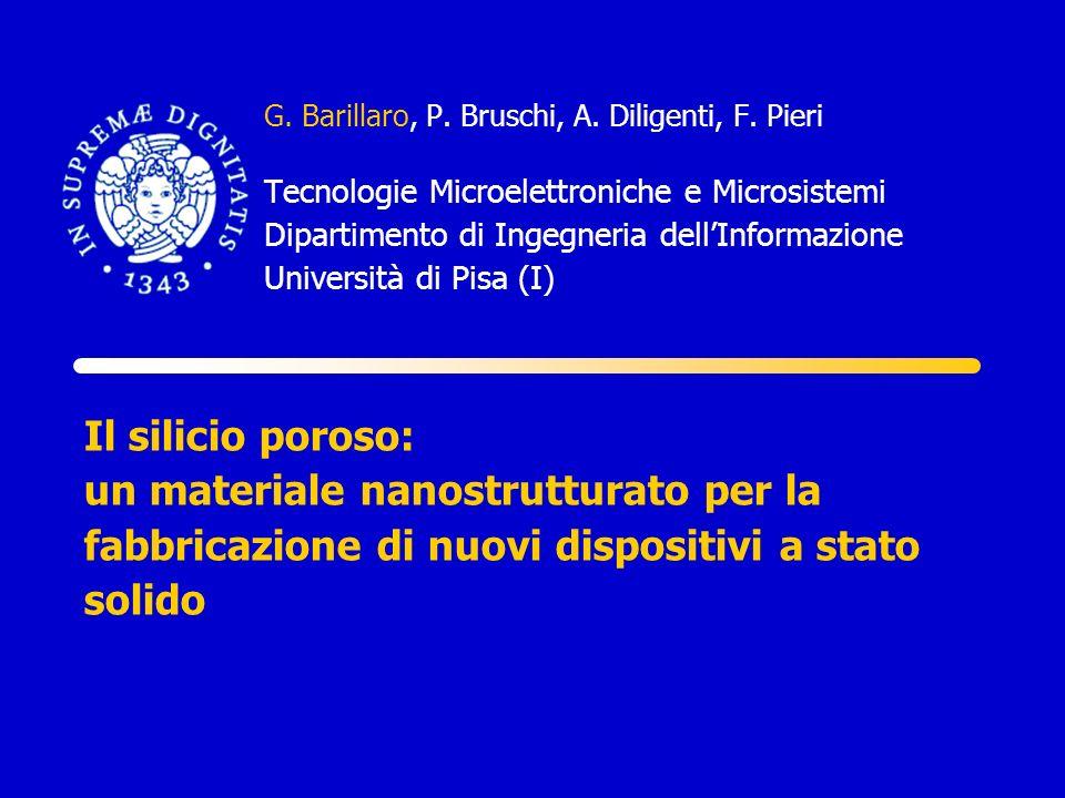 Il silicio poroso: un materiale nanostrutturato per la fabbricazione di nuovi dispositivi a stato solido G. Barillaro, P. Bruschi, A. Diligenti, F. Pi