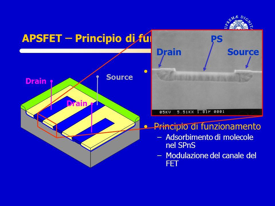 APSFET ̶̶ Principio di funzionamento Fabbricazione del sensore –Substrato di silicio p –Contatti in silicio n + –Produzione dello strato sensibile di