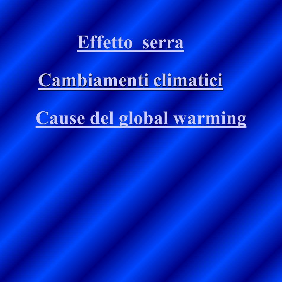 Effetto serra Cause del global warming Cambiamenti climatici Cambiamenti climatici