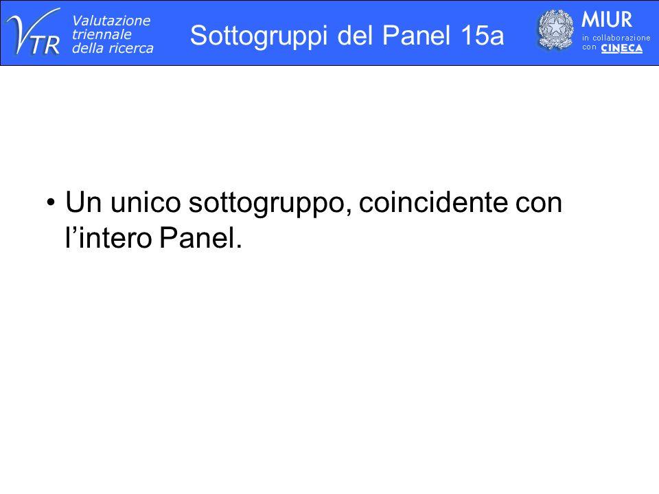 Sottogruppi del Panel 15a Un unico sottogruppo, coincidente con lintero Panel.