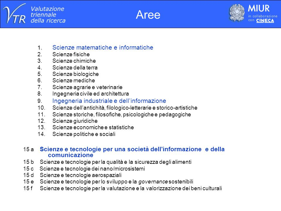 Prodotti valutati nellarea Area 15a Prodotti presentati dalle Strutture313 di cui: 12presentati da 2 Strutture-6 Prodotti valutati dai Panel307