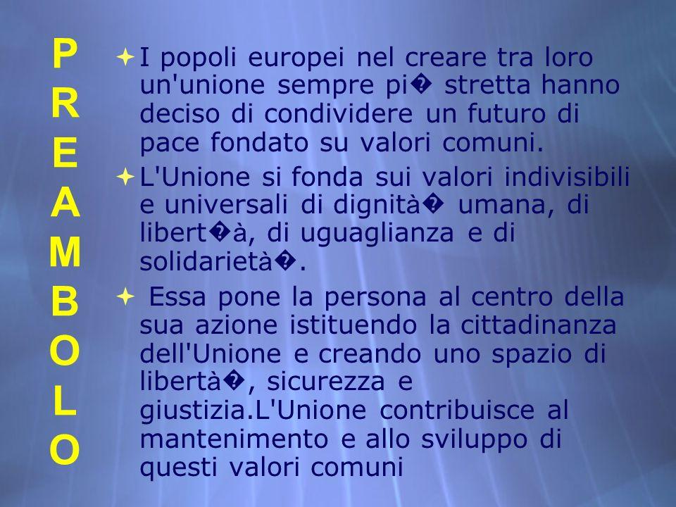 PREAMBOLOPREAMBOLO PREAMBOLOPREAMBOLO I popoli europei nel creare tra loro un'unione sempre pi stretta hanno deciso di condividere un futuro di pace f