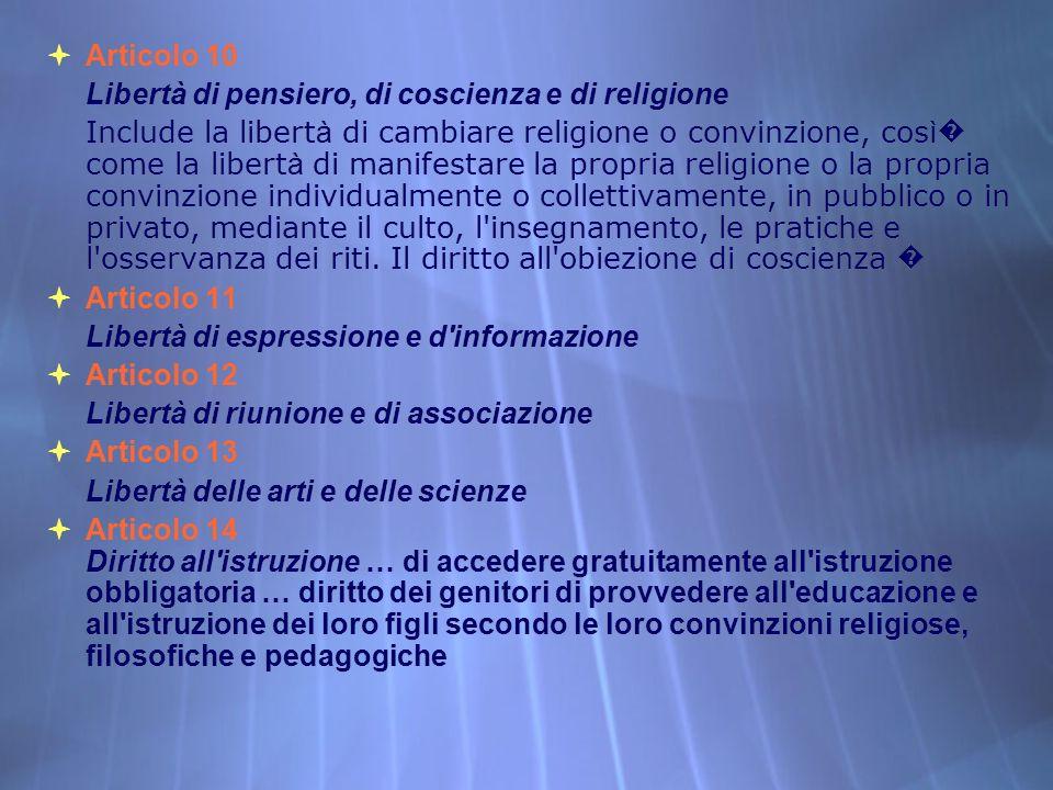 Articolo 10 Libertà di pensiero, di coscienza e di religione Include la libert à di cambiare religione o convinzione, cos ì come la libert à di manife