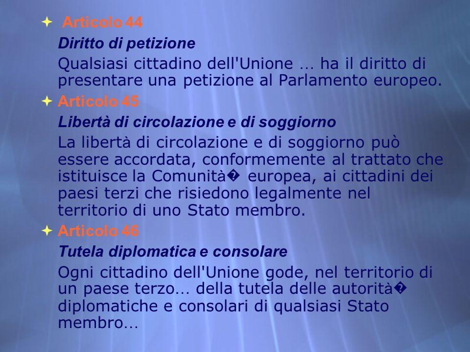 Articolo 44 Diritto di petizione Qualsiasi cittadino dell'Unione … ha il diritto di presentare una petizione al Parlamento europeo. Articolo 45 Libert