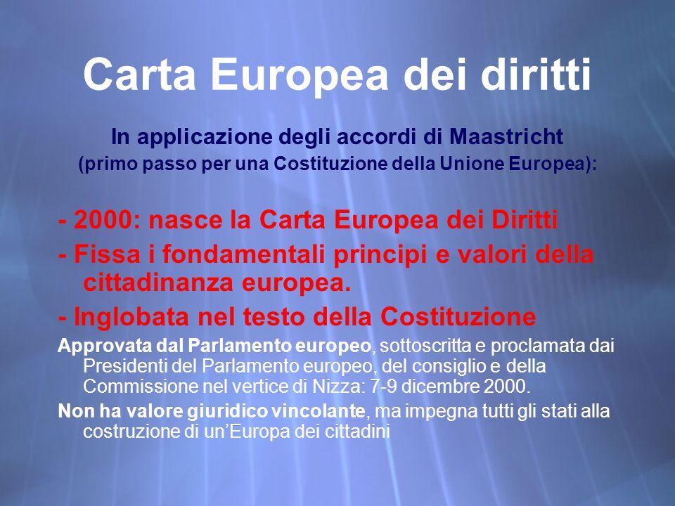 Carta Europea dei diritti In applicazione degli accordi di Maastricht (primo passo per una Costituzione della Unione Europea): - 2000: nasce la Carta