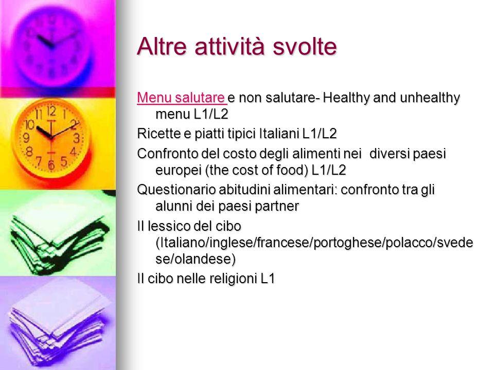 Altre attività svolte Menu salutare Menu salutare e non salutare- Healthy and unhealthy menu L1/L2 Menu salutare Ricette e piatti tipici Italiani L1/L