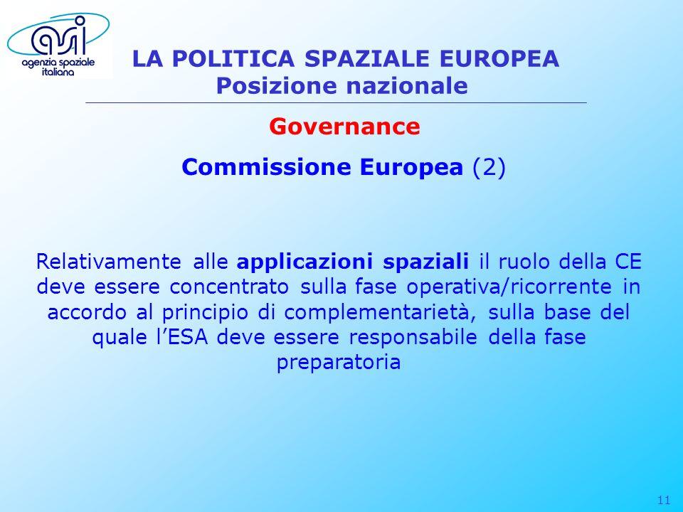 11 LA POLITICA SPAZIALE EUROPEA Posizione nazionale Governance Commissione Europea (2) Relativamente alle applicazioni spaziali il ruolo della CE deve essere concentrato sulla fase operativa/ricorrente in accordo al principio di complementarietà, sulla base del quale lESA deve essere responsabile della fase preparatoria