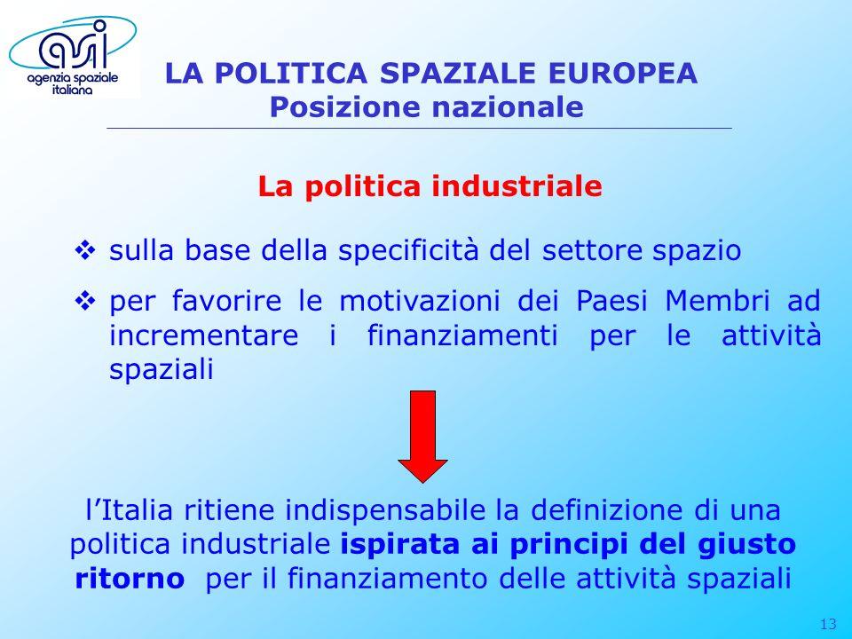 13 LA POLITICA SPAZIALE EUROPEA Posizione nazionale La politica industriale sulla base della specificità del settore spazio per favorire le motivazion