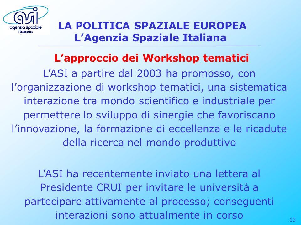 15 LA POLITICA SPAZIALE EUROPEA LAgenzia Spaziale Italiana LASI a partire dal 2003 ha promosso, con lorganizzazione di workshop tematici, una sistemat