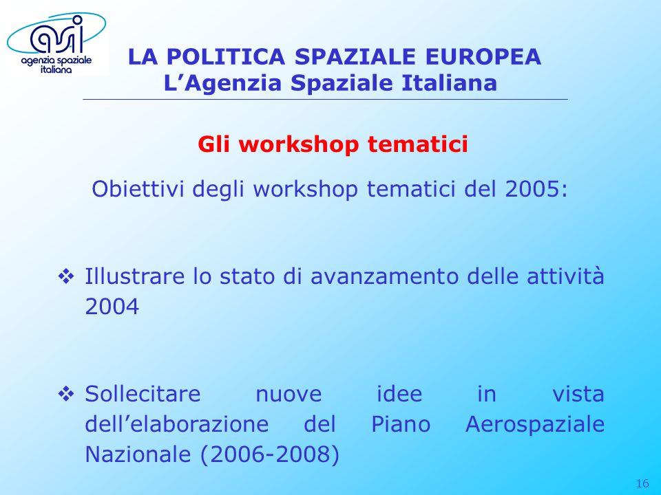 16 LA POLITICA SPAZIALE EUROPEA LAgenzia Spaziale Italiana Obiettivi degli workshop tematici del 2005: Illustrare lo stato di avanzamento delle attivi