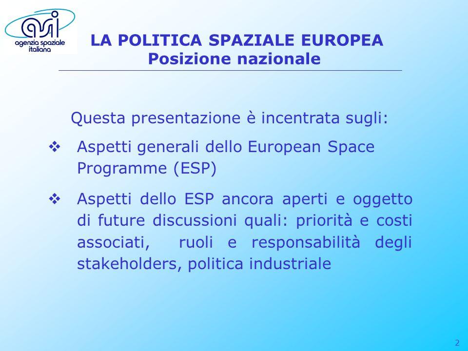 3 LA POLITICA SPAZIALE EUROPEA Posizione nazionale LItalia riconosce: la specificità del settore spaziale considerato unanimemente un asset strategico per lEuropa i benefici derivanti dallutilizzo dei sistemi spaziali per la realizzazione e la diffusione di applicazioni cost-effective