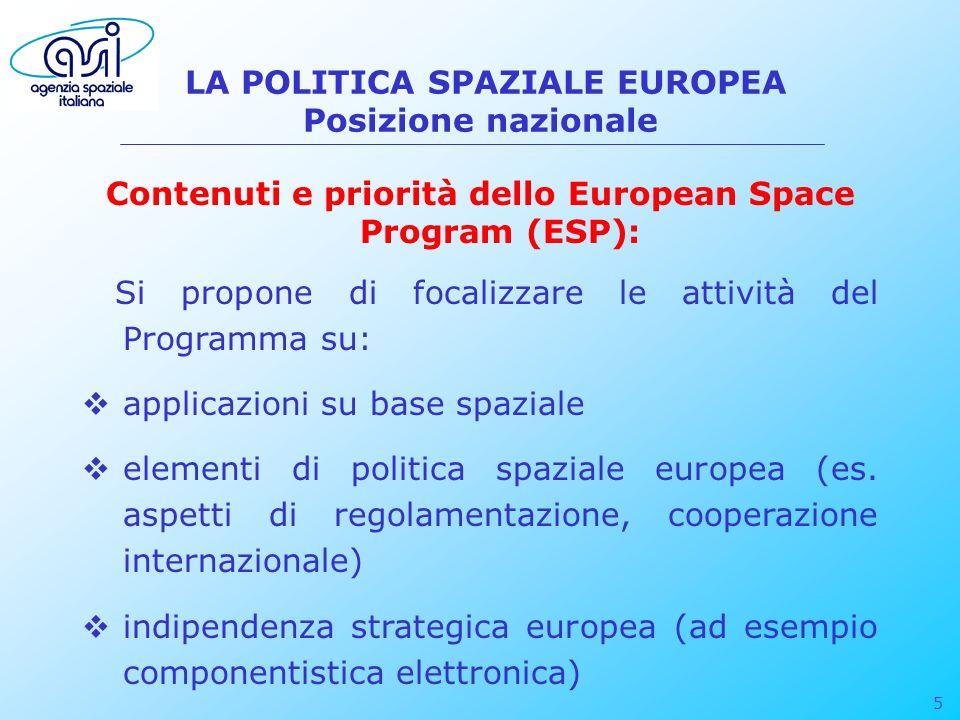 5 LA POLITICA SPAZIALE EUROPEA Posizione nazionale Contenuti e priorità dello European Space Program (ESP): Si propone di focalizzare le attività del
