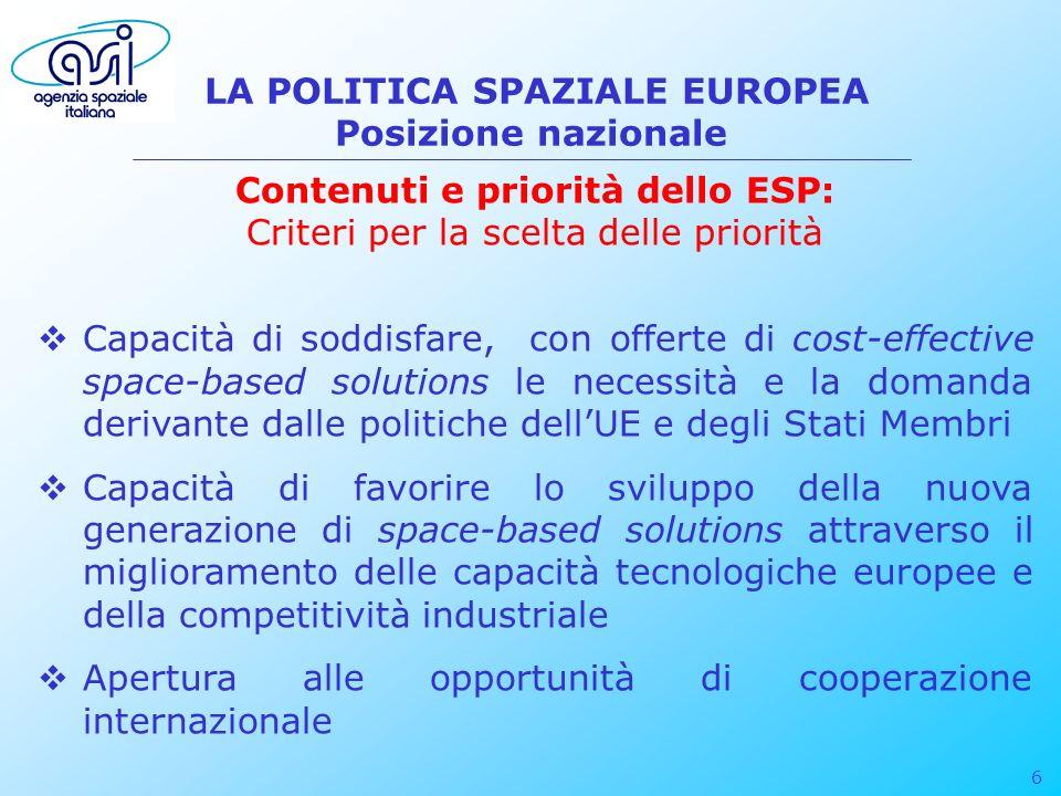 6 LA POLITICA SPAZIALE EUROPEA Posizione nazionale Contenuti e priorità dello ESP: Criteri per la scelta delle priorità Capacità di soddisfare, con of