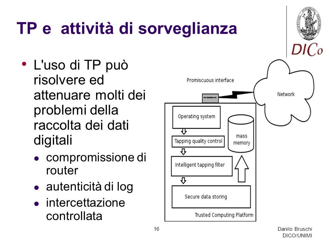 Danilo Bruschi DICO/UNIMI 16 TP e attività di sorveglianza L'uso di TP può risolvere ed attenuare molti dei problemi della raccolta dei dati digitali
