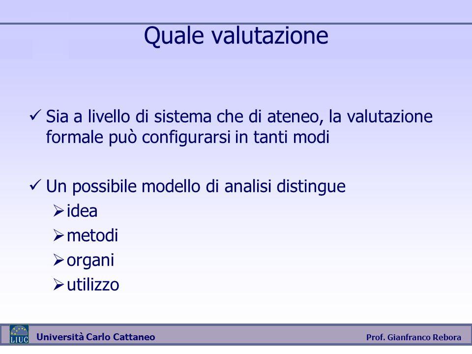 Prof. Gianfranco Rebora Università Carlo Cattaneo Quale valutazione Sia a livello di sistema che di ateneo, la valutazione formale può configurarsi in