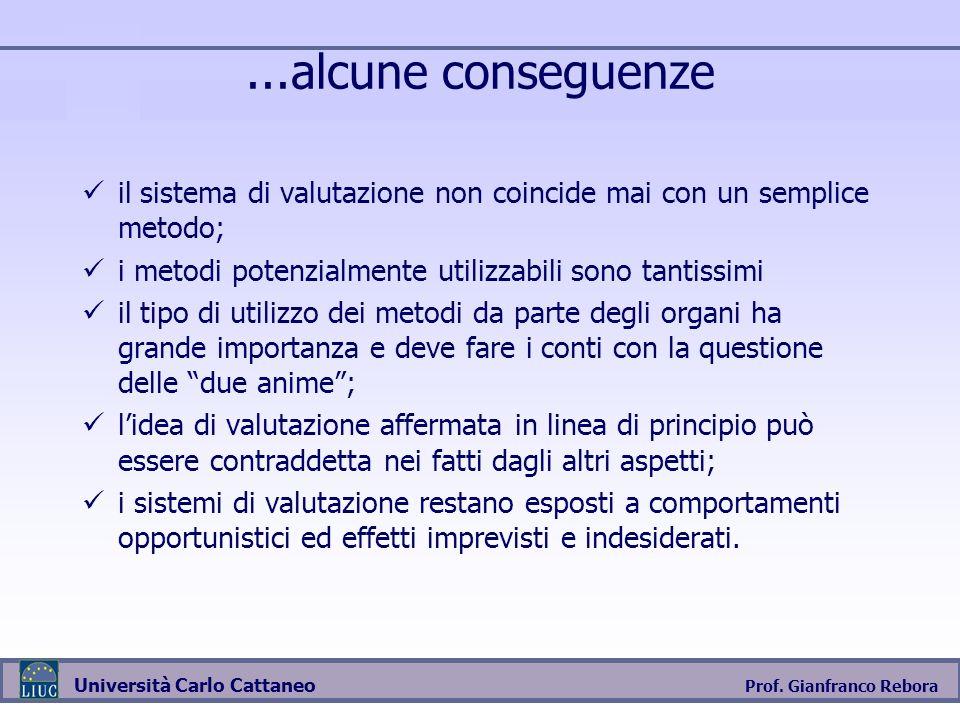 Prof. Gianfranco Rebora Università Carlo Cattaneo...alcune conseguenze il sistema di valutazione non coincide mai con un semplice metodo; i metodi pot