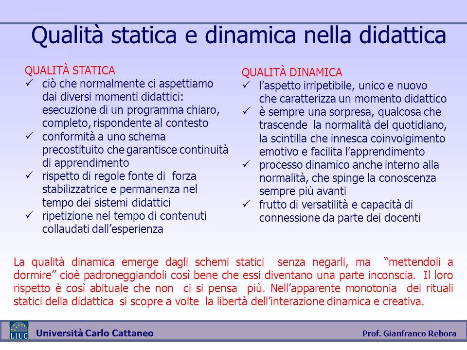 Prof. Gianfranco Rebora Università Carlo Cattaneo Qualità statica e dinamica nella didattica QUALITÀ STATICA ciò che normalmente ci aspettiamo dai div