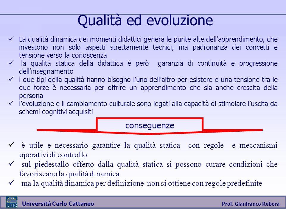 Prof. Gianfranco Rebora Università Carlo Cattaneo Qualità ed evoluzione La qualità dinamica dei momenti didattici genera le punte alte dellapprendimen