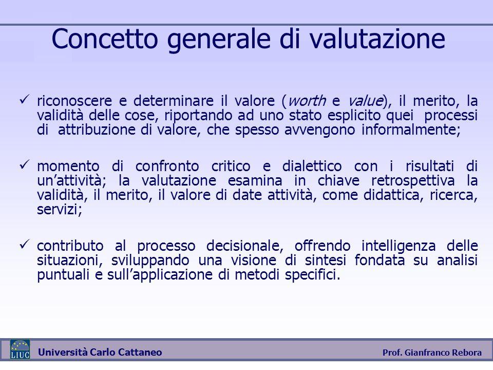 Prof. Gianfranco Rebora Università Carlo Cattaneo Concetto generale di valutazione riconoscere e determinare il valore (worth e value), il merito, la