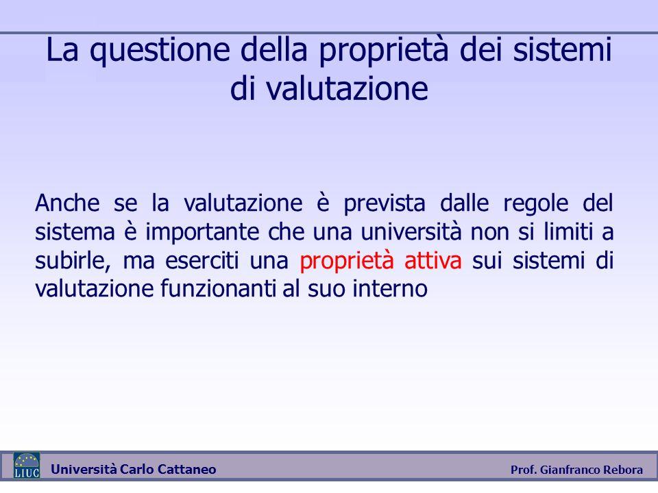 Prof. Gianfranco Rebora Università Carlo Cattaneo La questione della proprietà dei sistemi di valutazione Anche se la valutazione è prevista dalle reg
