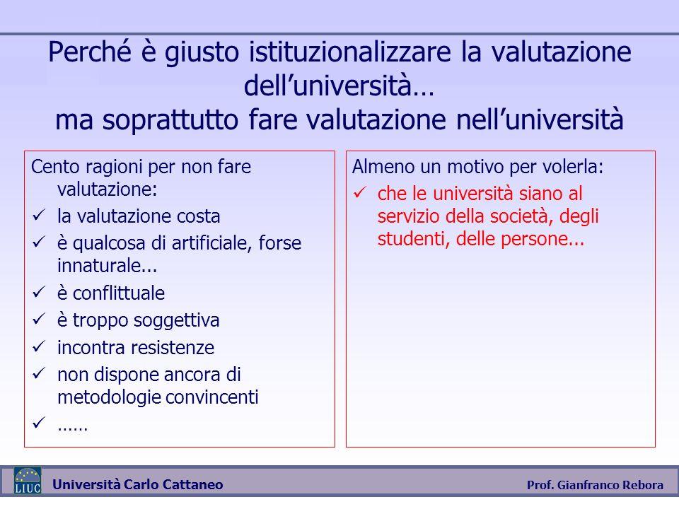 Prof. Gianfranco Rebora Università Carlo Cattaneo Perché è giusto istituzionalizzare la valutazione delluniversità… ma soprattutto fare valutazione ne