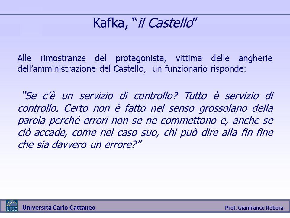 Prof. Gianfranco Rebora Università Carlo Cattaneo Kafka, il Castello Alle rimostranze del protagonista, vittima delle angherie dellamministrazione del