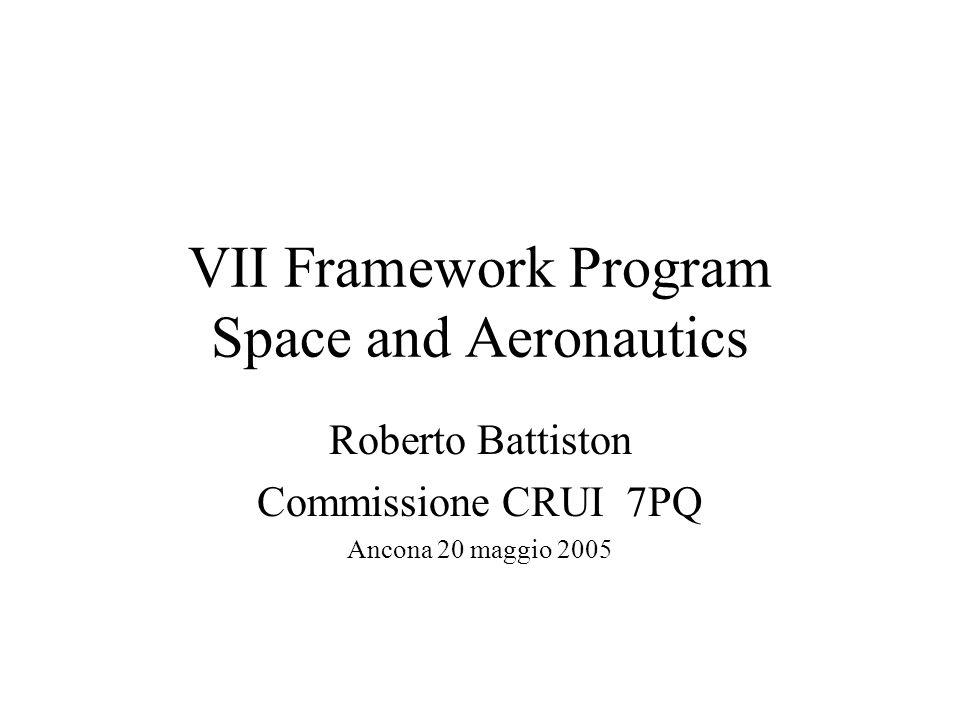 Piano della presentazione 6 Programma Quadro Aeronautics and Space 7 Programma Quadro Aeronautics and Space –Analisi della CRUI –Stato della definizione del progamma –Proposte della CRUI Conclusioni