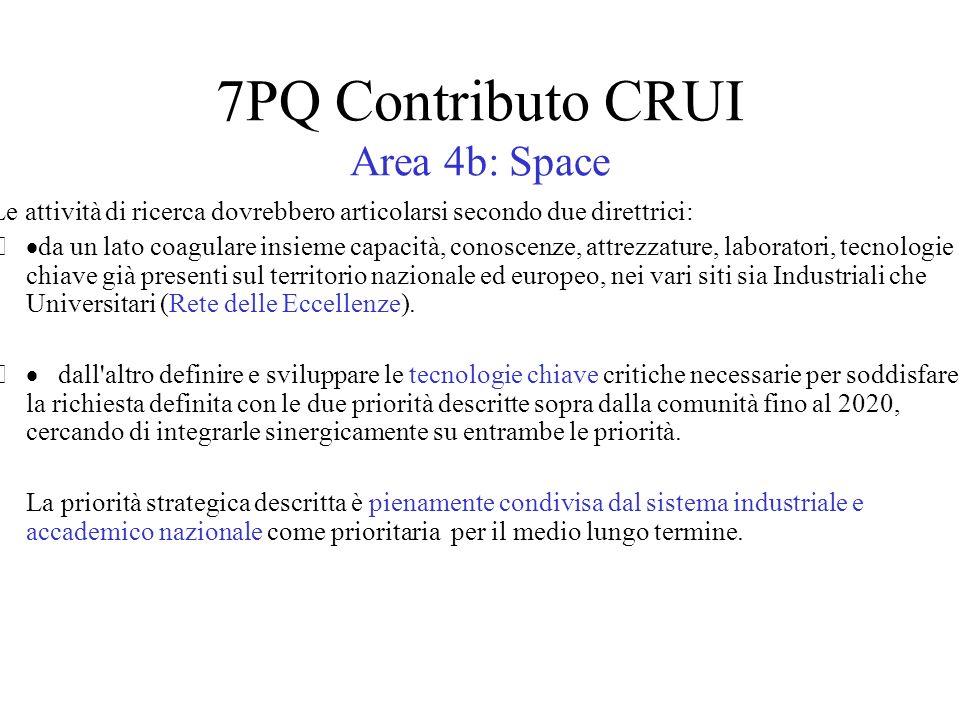 7PQ Contributo CRUI Area 4b: Space Le attività di ricerca dovrebbero articolarsi secondo due direttrici: da un lato coagulare insieme capacità, conoscenze, attrezzature, laboratori, tecnologie chiave già presenti sul territorio nazionale ed europeo, nei vari siti sia Industriali che Universitari (Rete delle Eccellenze).