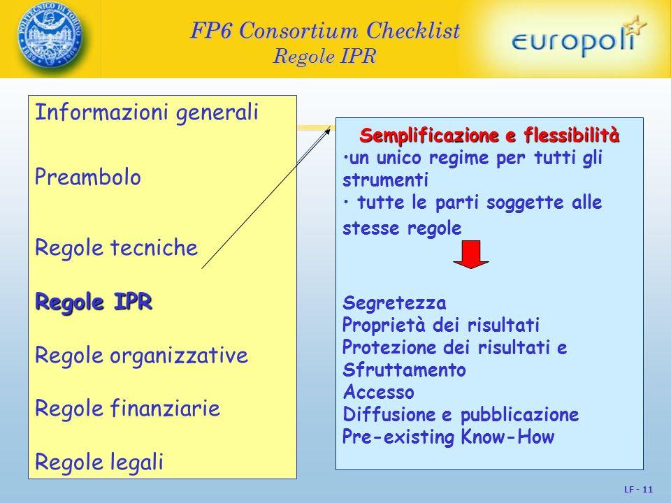 LF - 11 FP6 Consortium Checklist Regole IPR Semplificazione e flessibilità un unico regime per tutti gli strumenti tutte le parti soggette alle stesse