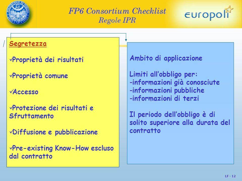 LF - 12 FP6 Consortium Checklist Regole IPR Segretezza Proprietà dei risultati Proprietà comune Accesso Protezione dei risultati e Sfruttamento Diffus