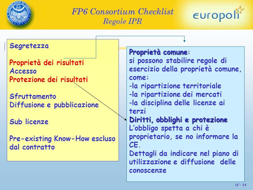 LF - 14 FP6 Consortium Checklist Regole IPR Segretezza Proprietà dei risultati Accesso Protezione dei risultati Sfruttamento Diffusione e pubblicazion