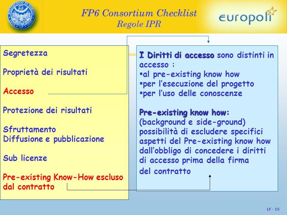 LF - 15 FP6 Consortium Checklist Regole IPR Segretezza Proprietà dei risultati Accesso Protezione dei risultati Sfruttamento Diffusione e pubblicazion