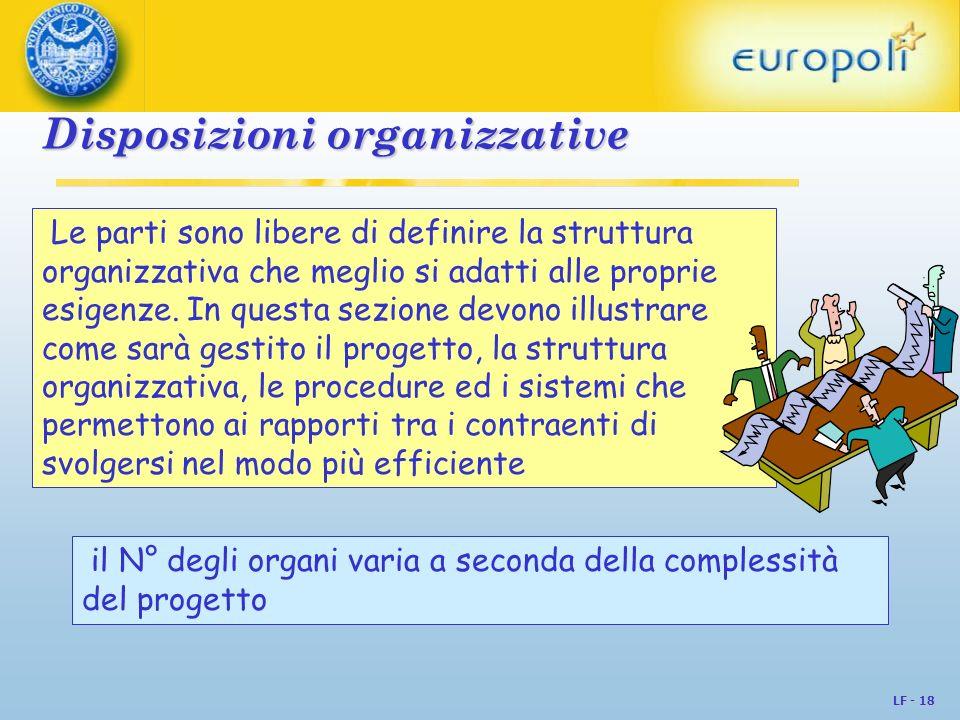 LF - 18 Disposizioni organizzative Disposizioni organizzative Le parti sono libere di definire la struttura organizzativa che meglio si adatti alle pr
