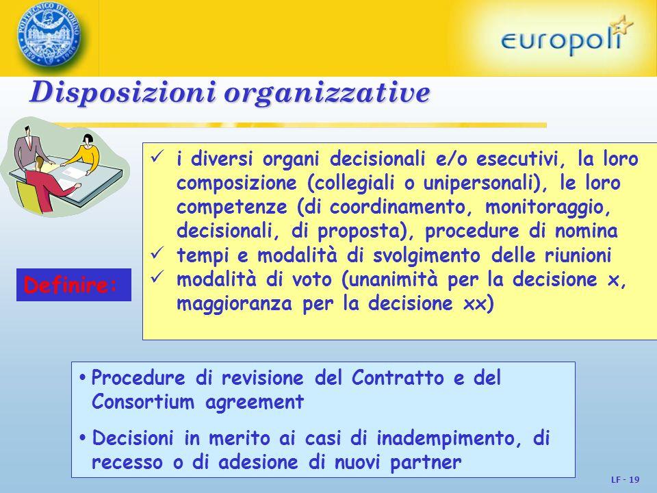 LF - 19 Disposizioni organizzative Disposizioni organizzative Procedure di revisione del Contratto e del Consortium agreement Decisioni in merito ai c