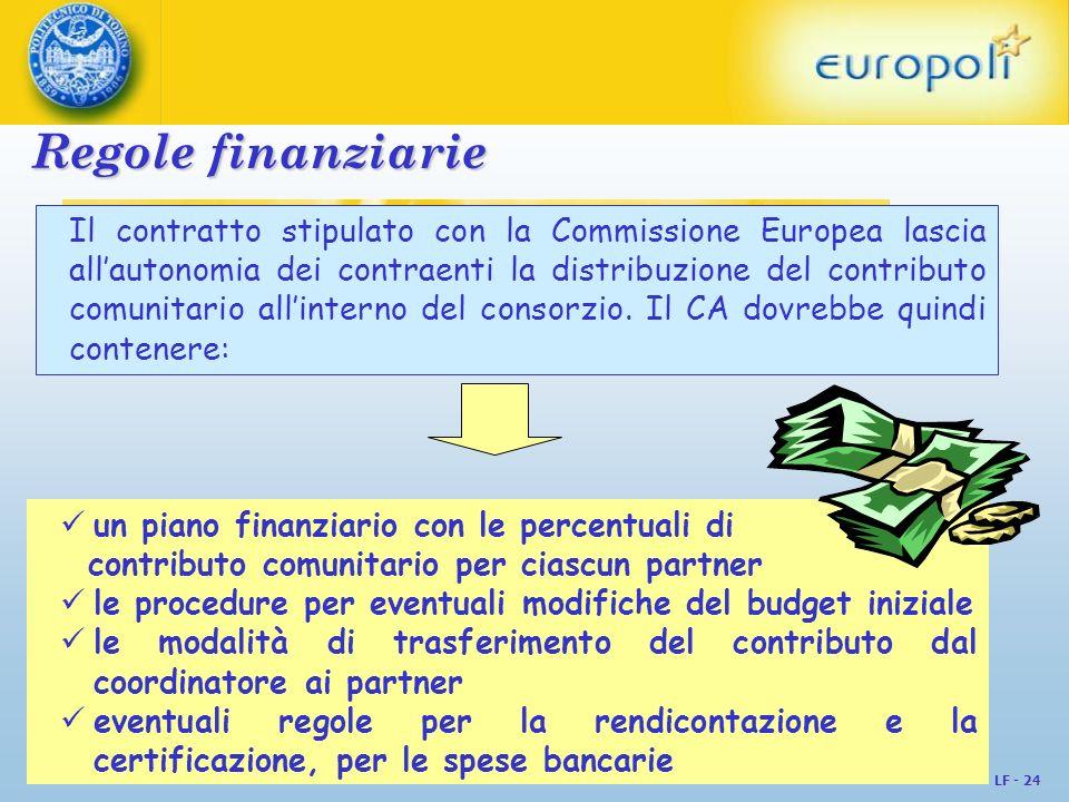 LF - 24 Regole finanziarie Il contratto stipulato con la Commissione Europea lascia allautonomia dei contraenti la distribuzione del contributo comuni