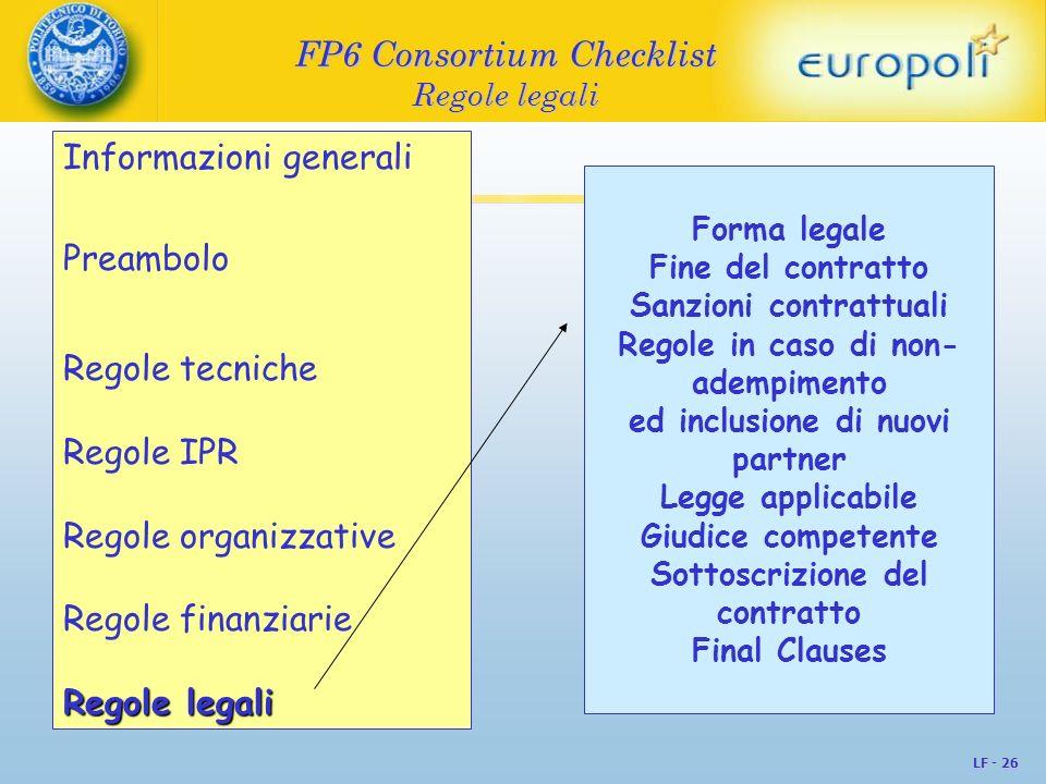 LF - 26 FP6 Consortium Checklist Regole legali Informazioni generali Preambolo Regole tecniche Regole IPR Regole organizzative Regole finanziarie Rego