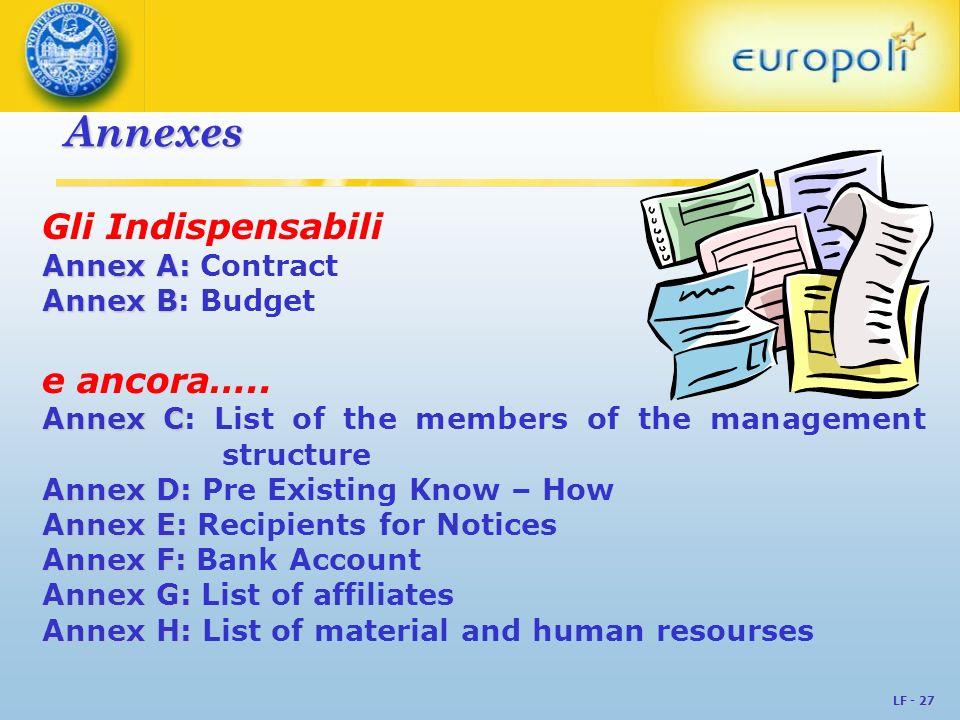 LF - 27 Annexes Gli Indispensabili Annex A: Annex A: Contract Annex B Annex B: Budget e ancora….. Annex C Annex C: List of the members of the manageme