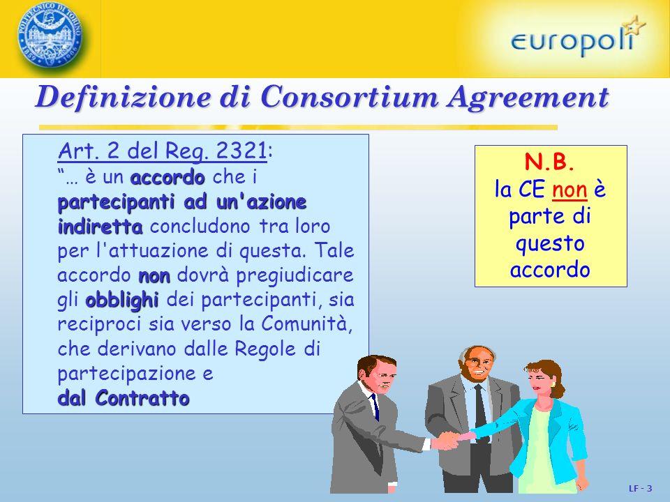 LF - 3 Definizione di Consortium Agreement Art. 2 del Reg. 2321: accordo partecipanti ad un'azione indiretta non obblighi … è un accordo che i parteci