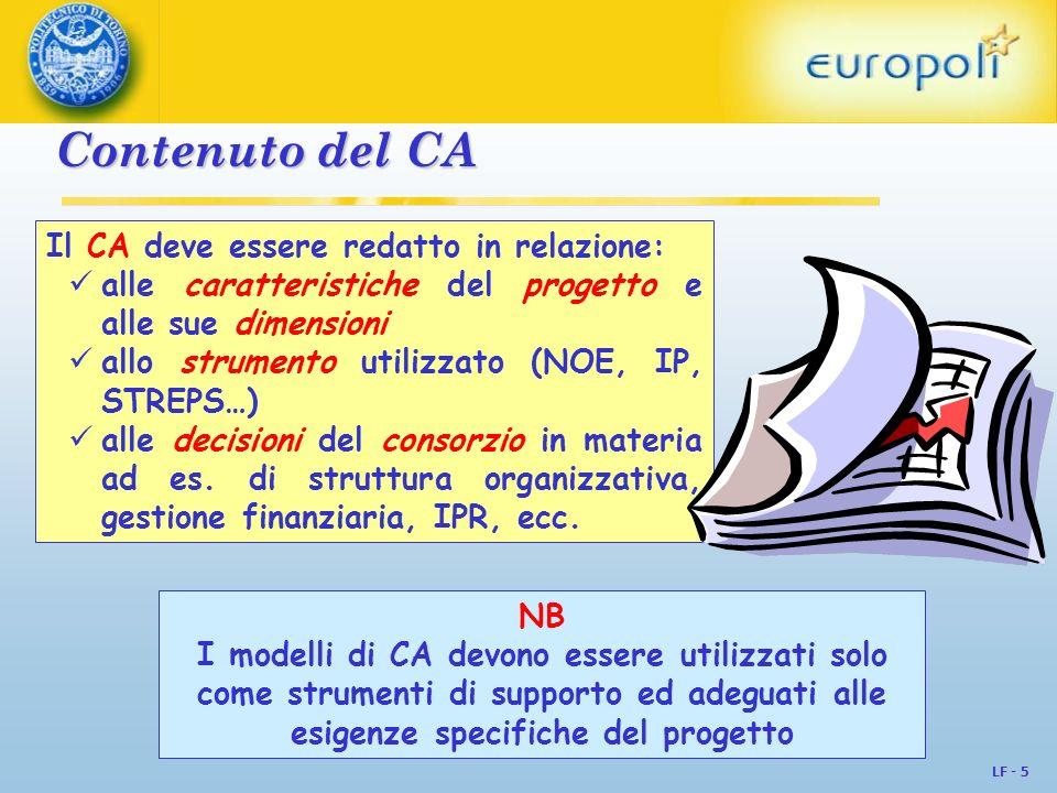 LF - 6 Accordi consorziali tipo La CE fornisce solo una checklist Sul sito web dellHelpdesk IPR, troviamo accordi tipo di: Organismes Publics Français de Recherche IPCA EICTA -TNO Helmhotz ANRT UNECA