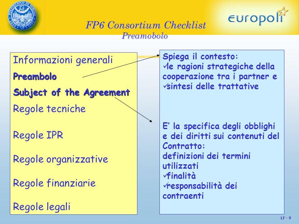 LF - 10 FP6 Consortium Checklist Regole tecniche Informazioni generali Preambolo Regole tecniche Regole IPR Regole organizzative Regole finanziarie Regole legali Contributo tecnico delle parti Risorse tecniche messe a disposizioni Programma di lavoro Procedure di modifica delle regole tecniche NB di solito sono già contenute nel Annex I