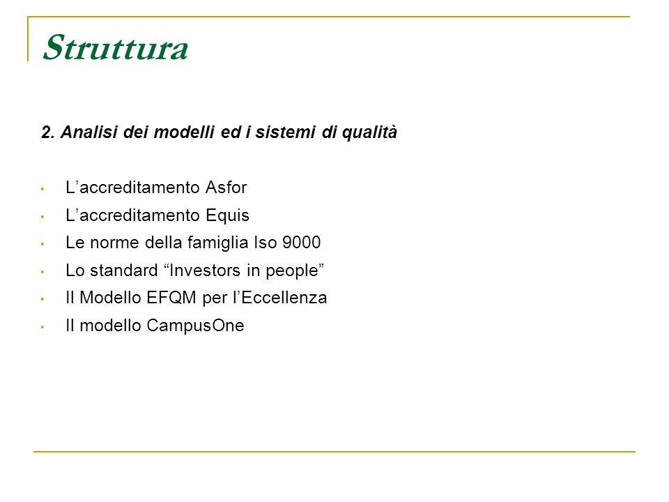 Struttura 2. Analisi dei modelli ed i sistemi di qualità Laccreditamento Asfor Laccreditamento Equis Le norme della famiglia Iso 9000 Lo standard Inve