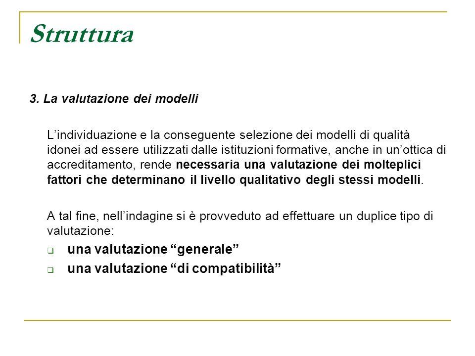 Struttura 3. La valutazione dei modelli Lindividuazione e la conseguente selezione dei modelli di qualità idonei ad essere utilizzati dalle istituzion