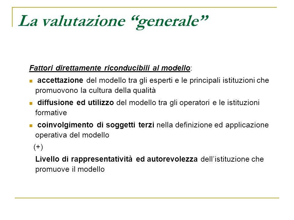 La valutazione generale Fattori direttamente riconducibili al modello: accettazione del modello tra gli esperti e le principali istituzioni che promuo